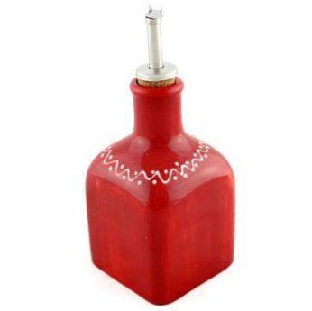 Olie-azijnfles rood vierkant klein Bowls&Dishes - in Olie- & Azijnstellen