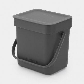 Afvalemmer Sort&Go 3 liter Grey Brabantia - in Prullenbakken