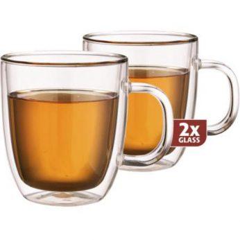 Dubbelw.glas met oor thee XL 2 stuks Maxxo