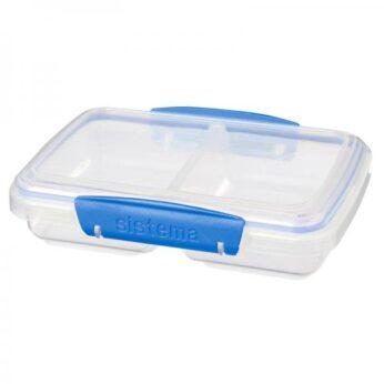 Lunchbox 2-vaks Klip-It blauw 350ml Sistema