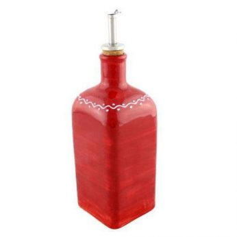 Olie-azijnfles rood vierkant groot Bowls&Dishes - in Olie- & Azijnstellen