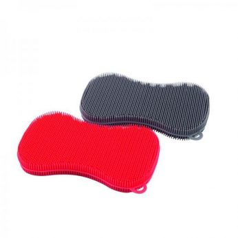 Schuurspons silicone grijs/rood Dotz