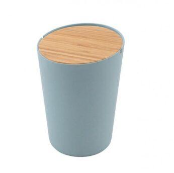 Tafelafvalbakje met bamboe deksel Blauw Point Virgule - in Prullenbakken